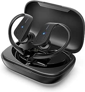 HolyHigh Auriculares Bluetooth 5.0 con 3000mAh Estuche de Carga CVC8.0 Cascos Bluetooth Inalámbricos Impermeable con Micrófono para Deportes, Gimnasio para iOS, Android, Samsung, Huawei(Luz Rojo): Amazon.es: Electrónica
