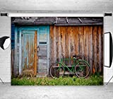 LB 7x5ft Vintage Rustic Wooden House Photography Backdrop Old Bicycle Customized Photo Background Studio Prop DB141