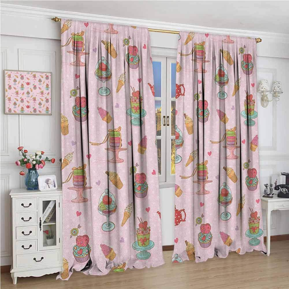 GUUVOR Ice Cream Heat Insulation Curtain Retro Style Cupcakes Teapots Candies Cookies on Polka Dots Vintage Kitchen Print for Living Room or Bedroom W96 x L108 Inch Multicolor by GUUVOR