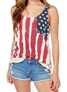 82e827c201974 For G and PL Women s July 4th American Flag Chiffon Patriotic Tank Tops