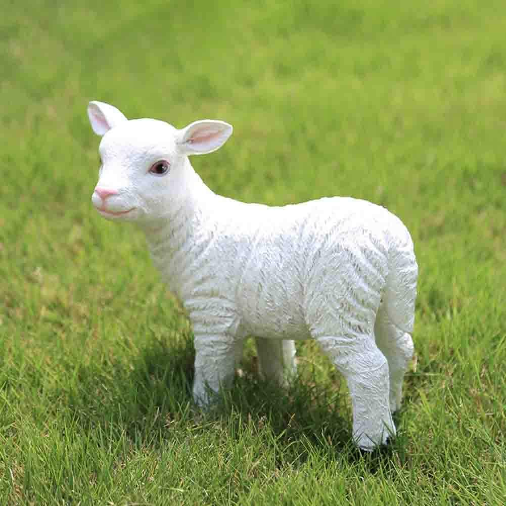 Outdoor Lamb Statue,Garden Farm Baby Sheep Sculpture,Decorative Animal Figure Farmhouse Decor B 21x8x22cm(8x3x9inch)