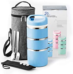 Lille Home Stackable Stainless Steel Thermal Compartment Lunch/Snack Box, 3-Tier Insulated Bento/Food Container with Upgraded Lunch Bag, Portable Cutlery Set and 3 Extra Silicone Seals, 43 OZ, Blue