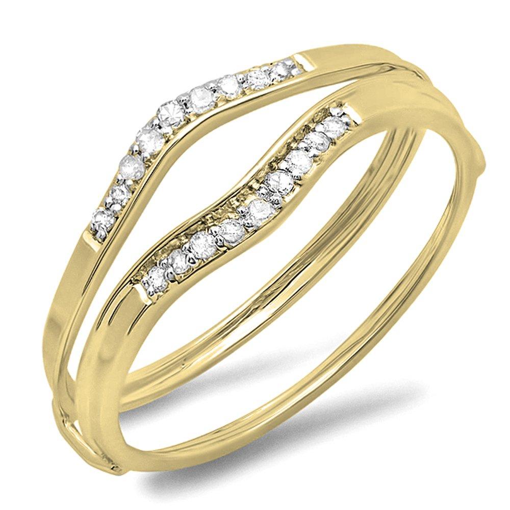 Dazzlingrock Collection 0.12 Carat (ctw) 14K Round White Diamond Ladies Enhancer Guard Wedding Band, Yellow Gold, Size 8