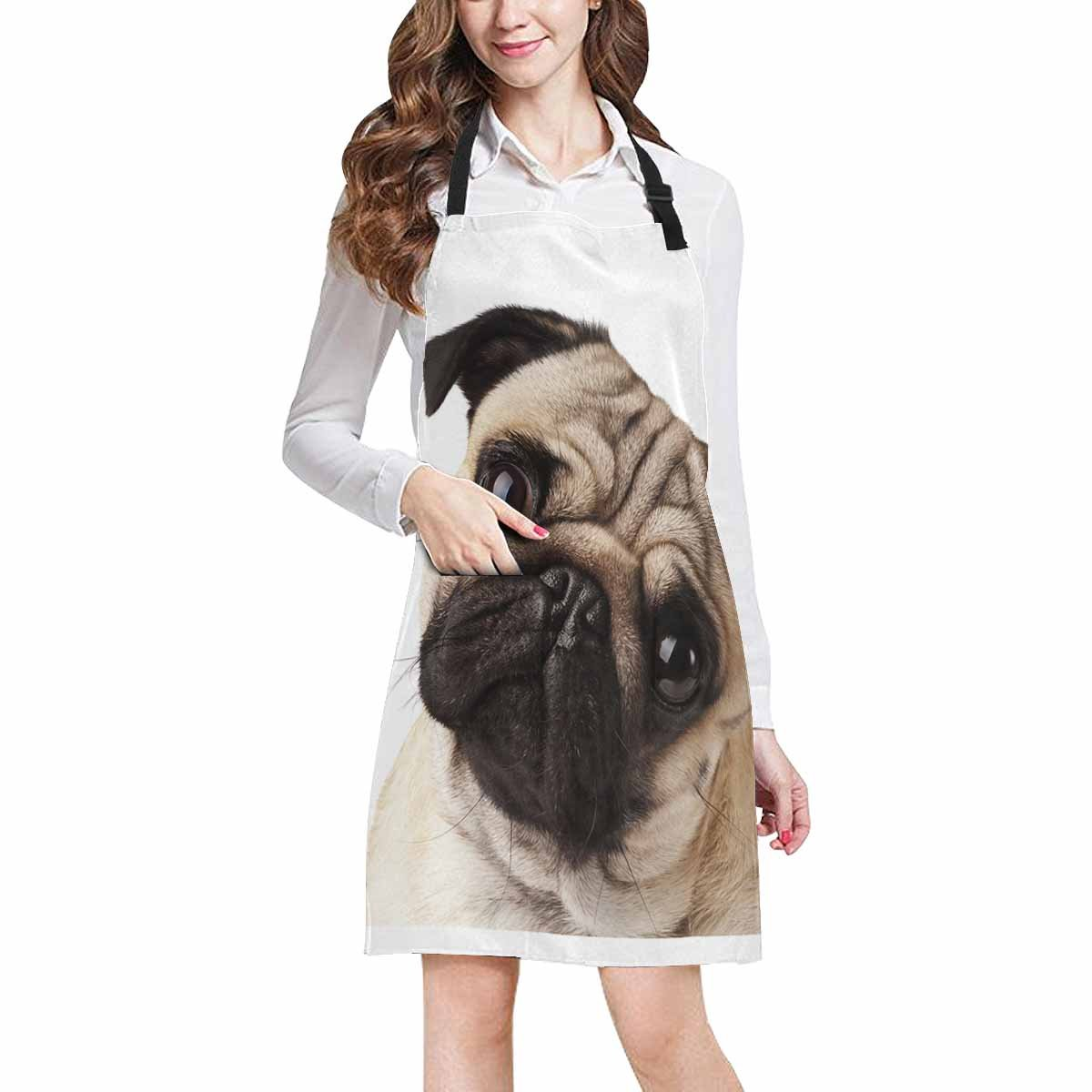 InterestPrint Close-Up Pug Dog Apron for Women Men Girls Chef with Pockets, Lovely Animal Unisex Adjustable Bib Apron Kitchen for Cooking Baking Gardening Home by InterestPrint (Image #2)