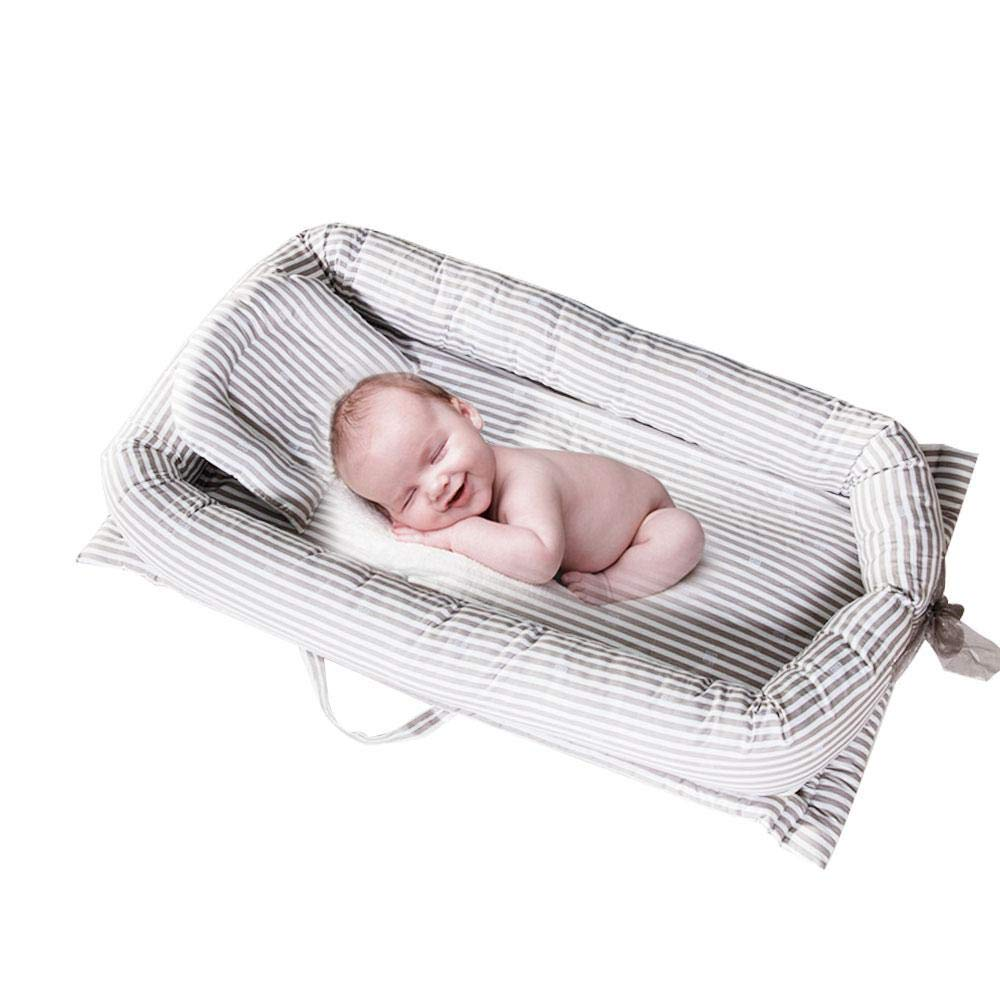 KOBWA Baby Bassinet for Bed with Soft Pillow, Breathable Hypoallergenic Baby Lounger/Portable Cribs, Perfect for Cuddling, Lounging 0-24 Months Baby Boy Girl - 100% Organic Cotton
