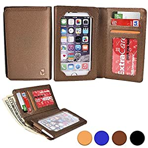 Cooper Cases(TM) Infinite Wallet Lava Iris Alfa / X1 Grand / X8, Icon Case in Gold (PU Canvas Cover, Built-in Screen Protector, Card Slots, ID Holder, Billfold)