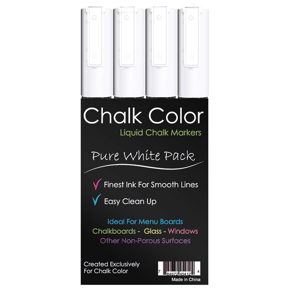Chalk Color Markers White 4 Pack Liquid Ink Pens 3mm Fine Tip