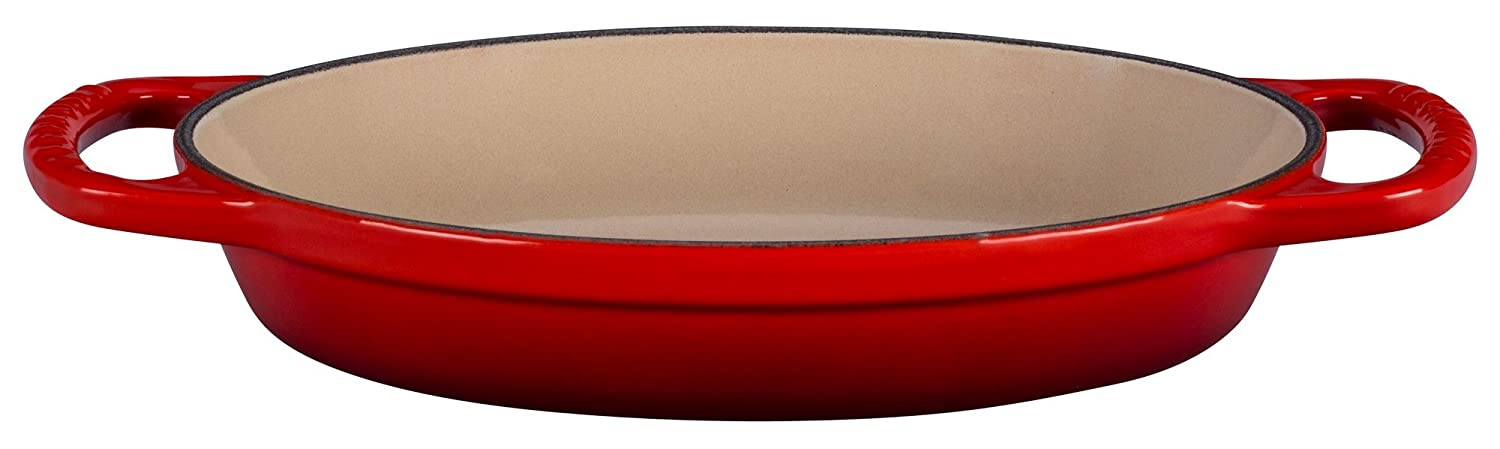 Le Creuset Enamel Cast Iron Signature Oval Baker, 5/8 quart, Cerise (Cherry Red)