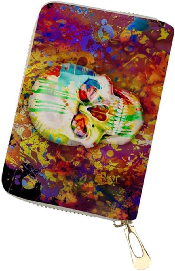 TZY Professional Women Men Packs Skull Heads Print PU Leather Ladies s Card Bag Feminina ID Passport Hold Card