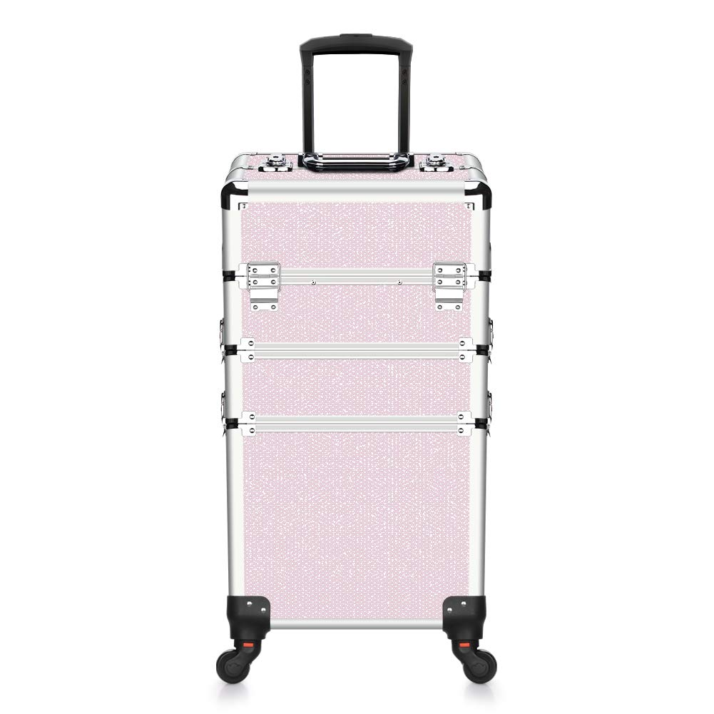 Makeup Case - 3 In 1 Aluminum Professional Rolling Cosmetic Beauty Storage With Folding Trays and Large Compartments Pink Diamond