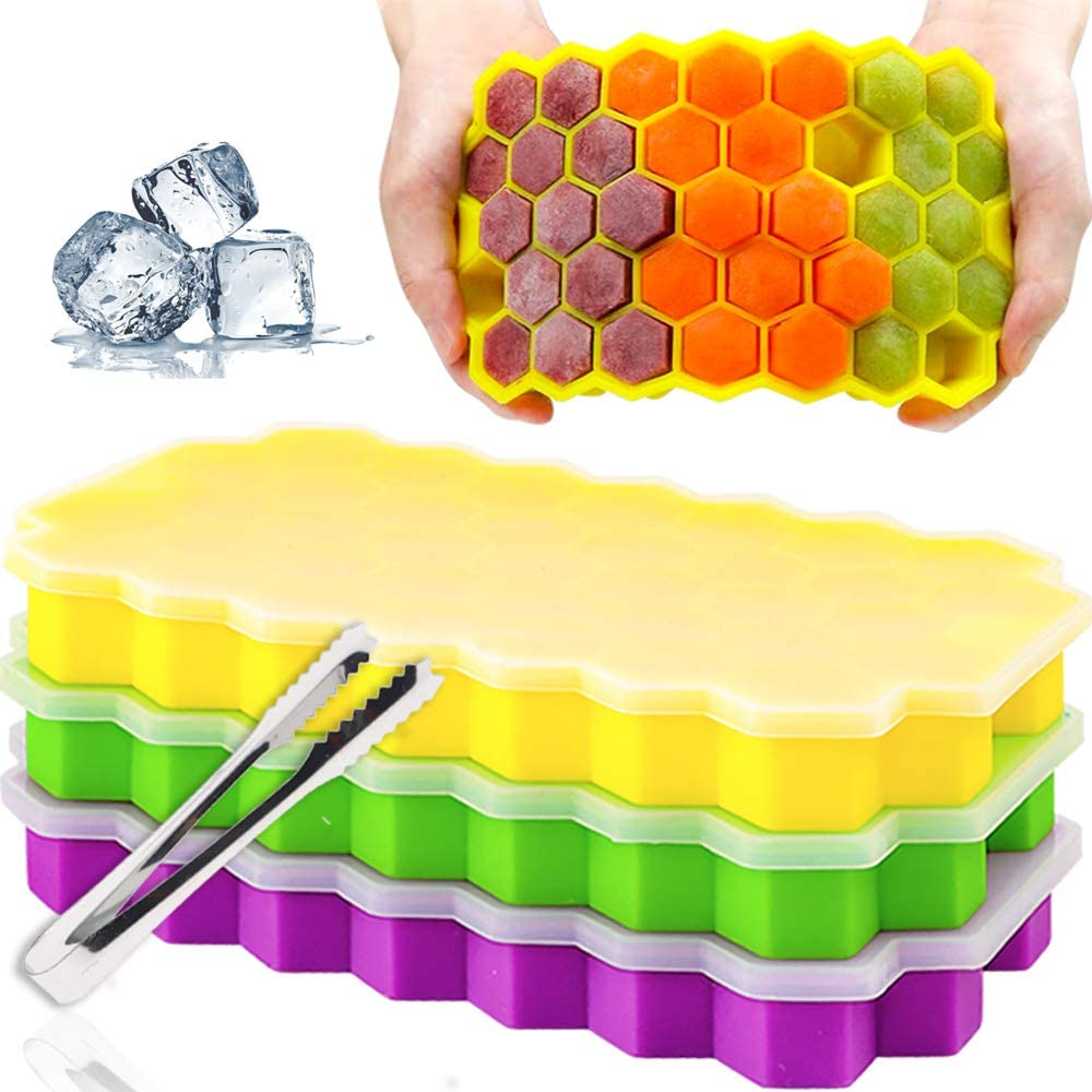 BAKHUK 3pcs Silicone Ice Cube Trays with Lids, 111 Cavity Honeycomb Food Grade Silicone Stackable Ice Mold for Cocktails, Whiskey and Ice Drinks