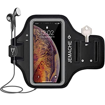 1d2d32fab7843 iPhone XS Max Armband, JEMACHE Water Resistant Running/Exercise/Workouts  Gym Sport Arm Band Case for iPhone XS Max (6.5
