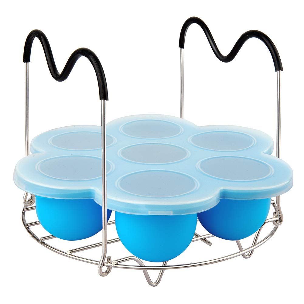 Instant Pot Accessories, Silicone Egg Bites Molds and Steamer Rack with Handles, 2 pcs/set for 6qt & 8qt Pressure Cooker