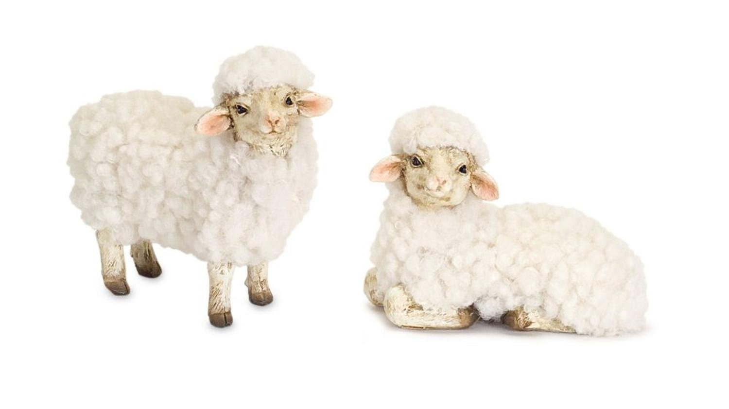 Diva At Home Set of 2 Brown and Ivory White Sheep Nativity Animal Christmas Statuary 3.5''