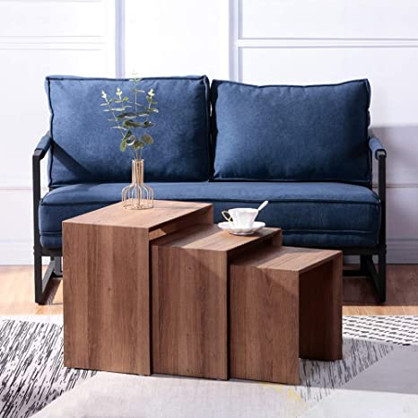 Goldfan Modern Design Set Of 3 Rectangular Side Tables Coffee Table Wood Suitable For Living Room Bedroom Office Brown Amazon De Kuche Haushalt