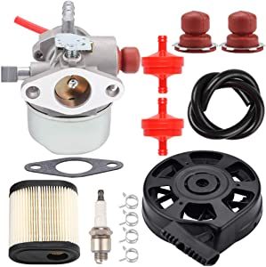 Kizut 640350 Carburetor + 590702 Recoil Starter + 36905 Air Filter Tune Up Kit for Tecumseh LV195EA LV195XA LEV120 LEV100 LEV105 LEV120 Lawn Mower Toro Recycler 22 Carburetor Replacement Parts