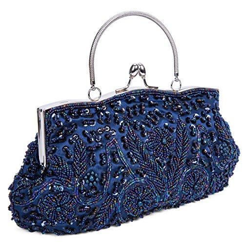 Kissing Beaded Evening Interior Metal Lifewish Women's Blue Bag Lock Satin Frame Sequin Design Evening Clutch FU4qx8tq