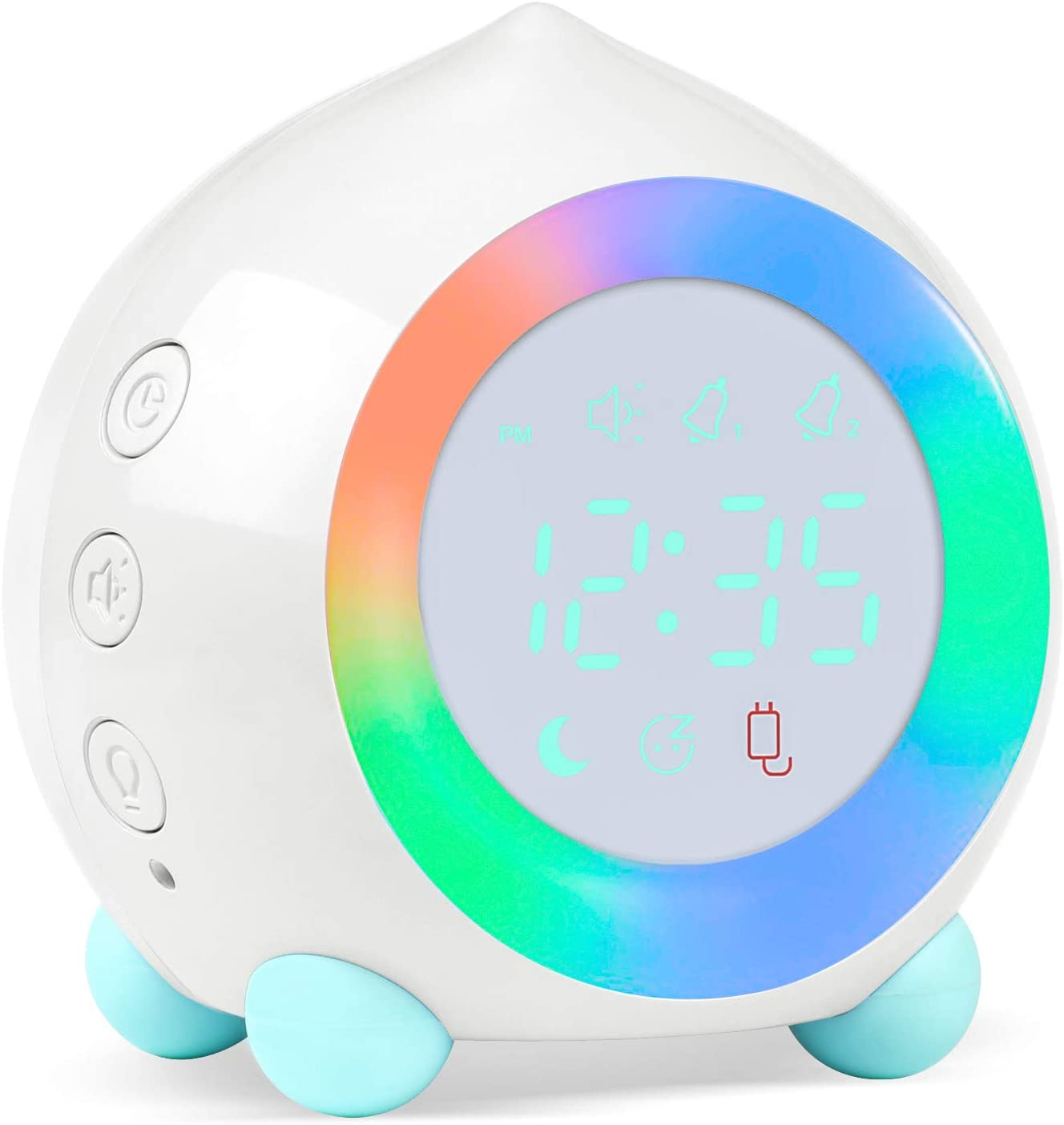 Alarm Clock Digital for Kids Sunrise Simulator Alarm Clock Bedside Mains Powered for Girls Boys Bedroom with LED Wake Up Light & Night Light Lamp Silent Alarm Clock (White)