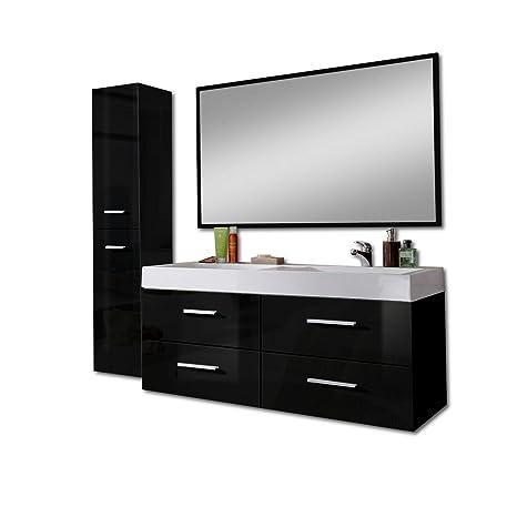 Sam® Set di mobili da bagno Hilo, colore: nero lucido, 120 cm Set di ...