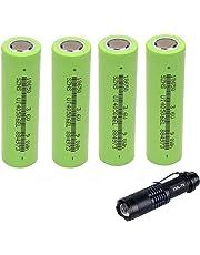 4-Pcs 2600mAh 18650 Rechargeable 3.7V Flat Top Batterie + Torche Lampe de Poche Led Kit