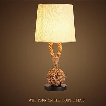 AMZH Creative Retro cáñamo Cuerda lámparas de Mesa Bar ...