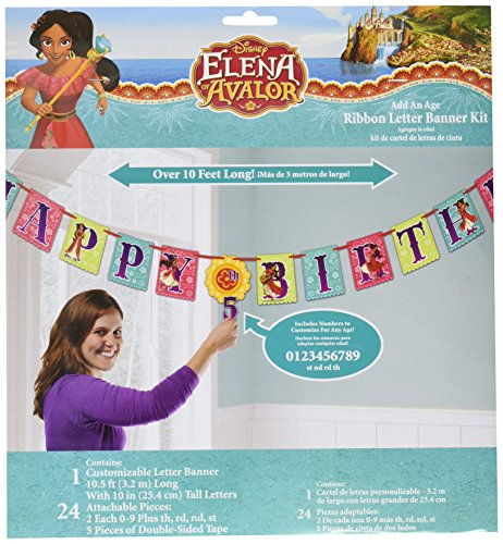 American Greetings Disney Elena of Avalor Add-an-Age Birthday Party Banner -