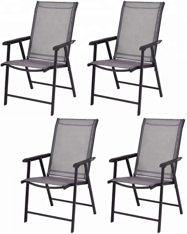Leissu 4-Pack Patio Folding Sling, Dining Chairs, D 26.8 X W 23.2 X H 37.4 , Grey
