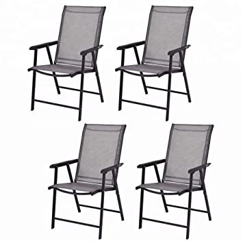 Leissu TZY-101 - Lote de 4 sillas Plegables para Patio (26 ...