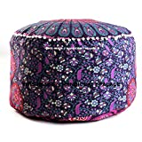 """Indian Peacock Mandala Ottoman Pouf Cover Round Floor Pillow Ottoman Living Room Large Seating Floor Pillow Cover Ottoman Cover pouf Cover Boho Hippie By """"Handicraft-Palace"""""""