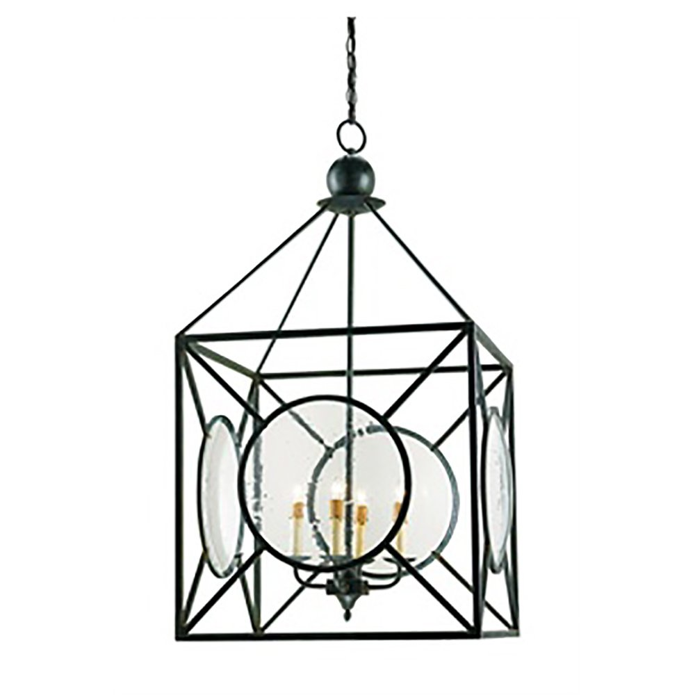 Currey Company 9748 Pendant with Seeded Glass Shades, Old Iron Finished