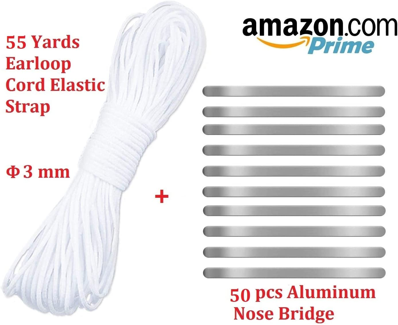 22 Yards Elastic Cord Rope White Band 1//8 Inch Round Ear Tie Earloop Strap Handmade String with 20pcs 90MM Aluminum Nose Bridge for Crafts DIY Sewing
