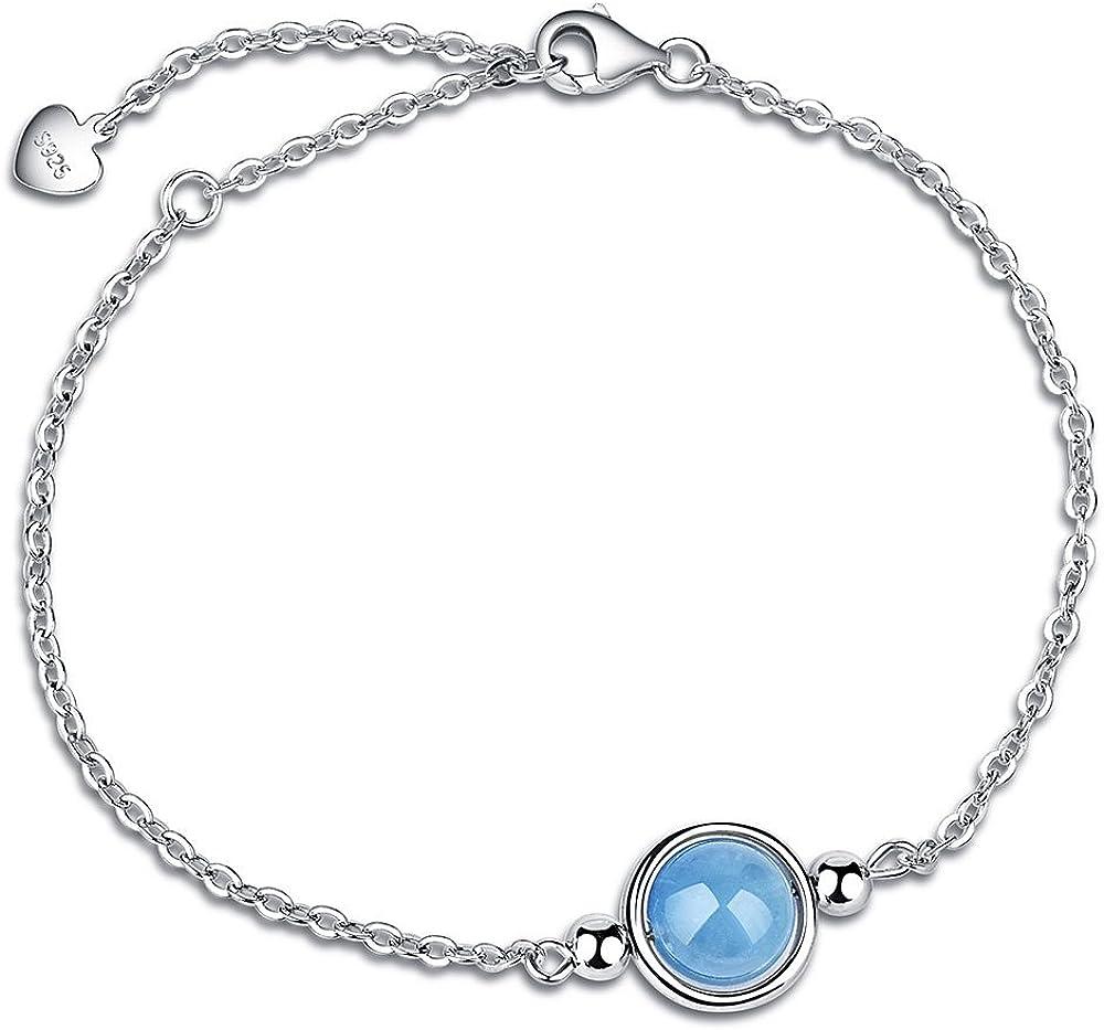Dalwa 925 pulsera de plata para mujer pulsera de plata chapada en oro blanco con piedra preciosa aguamarina