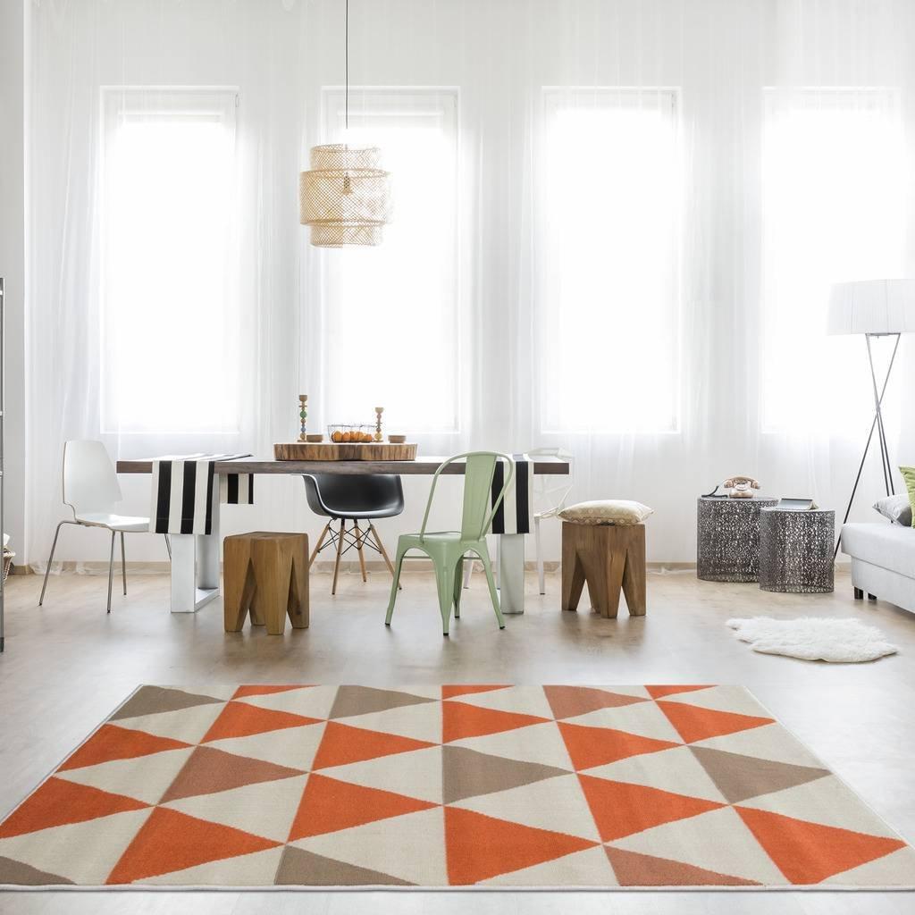 The Rug House Milan Moderner Teppich mit Harlekin Dreiecksmuster für Das Wohnzimmer in Terracotta-, Orange-, Grau- und Beigefarbtönen 160cm x 230cm