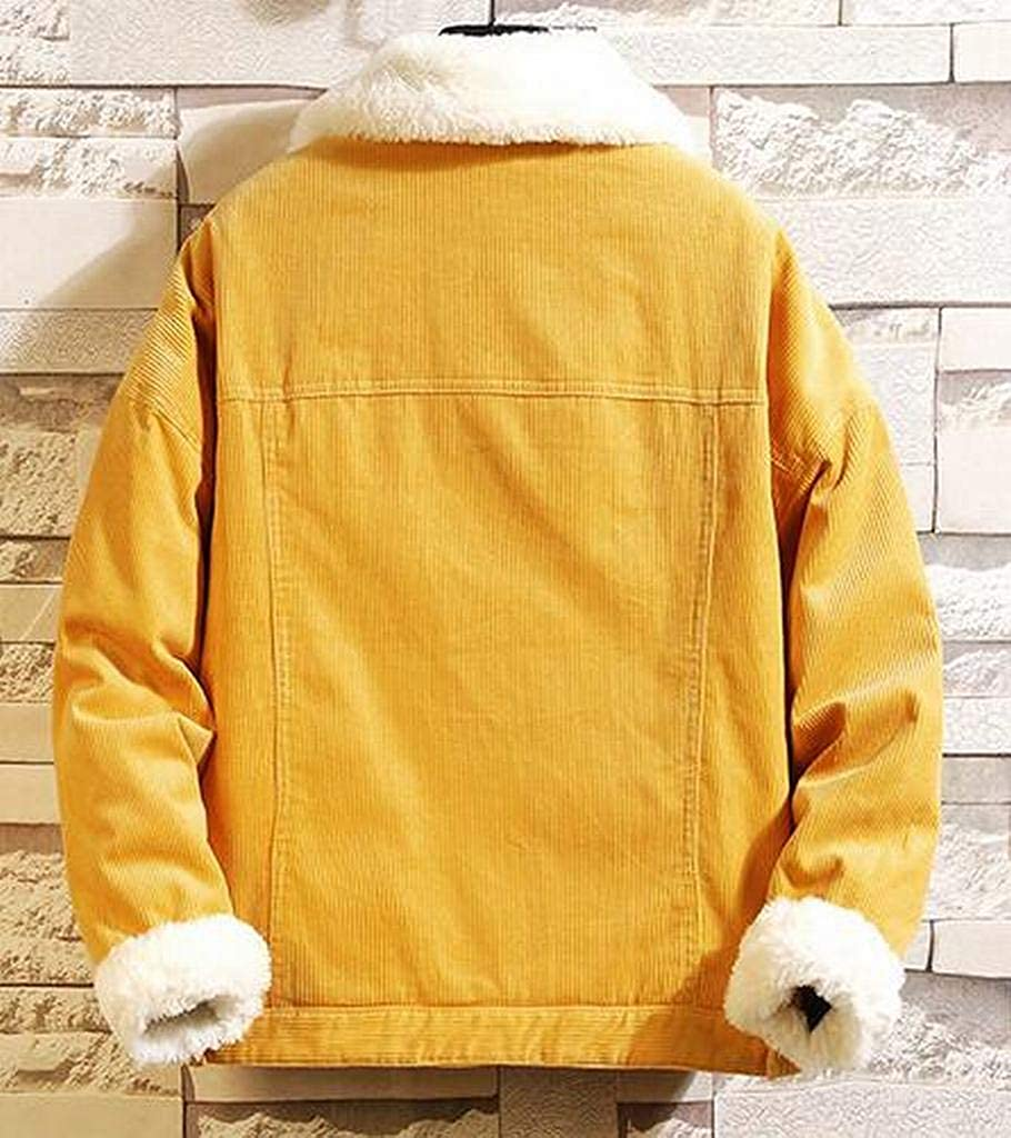 XTX Mens Winter Fleece Plus Size Corduroy Warm Quilted Jacket Parka Coat Outerwear