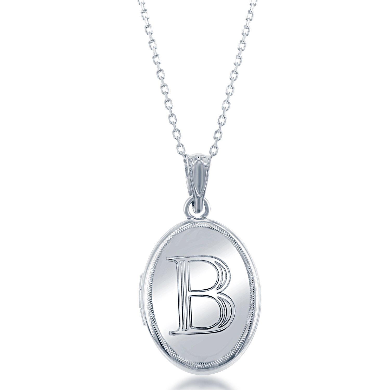 Sterling Silver High-Polish Initial ''B'' Oval Locket with 18'' Chain