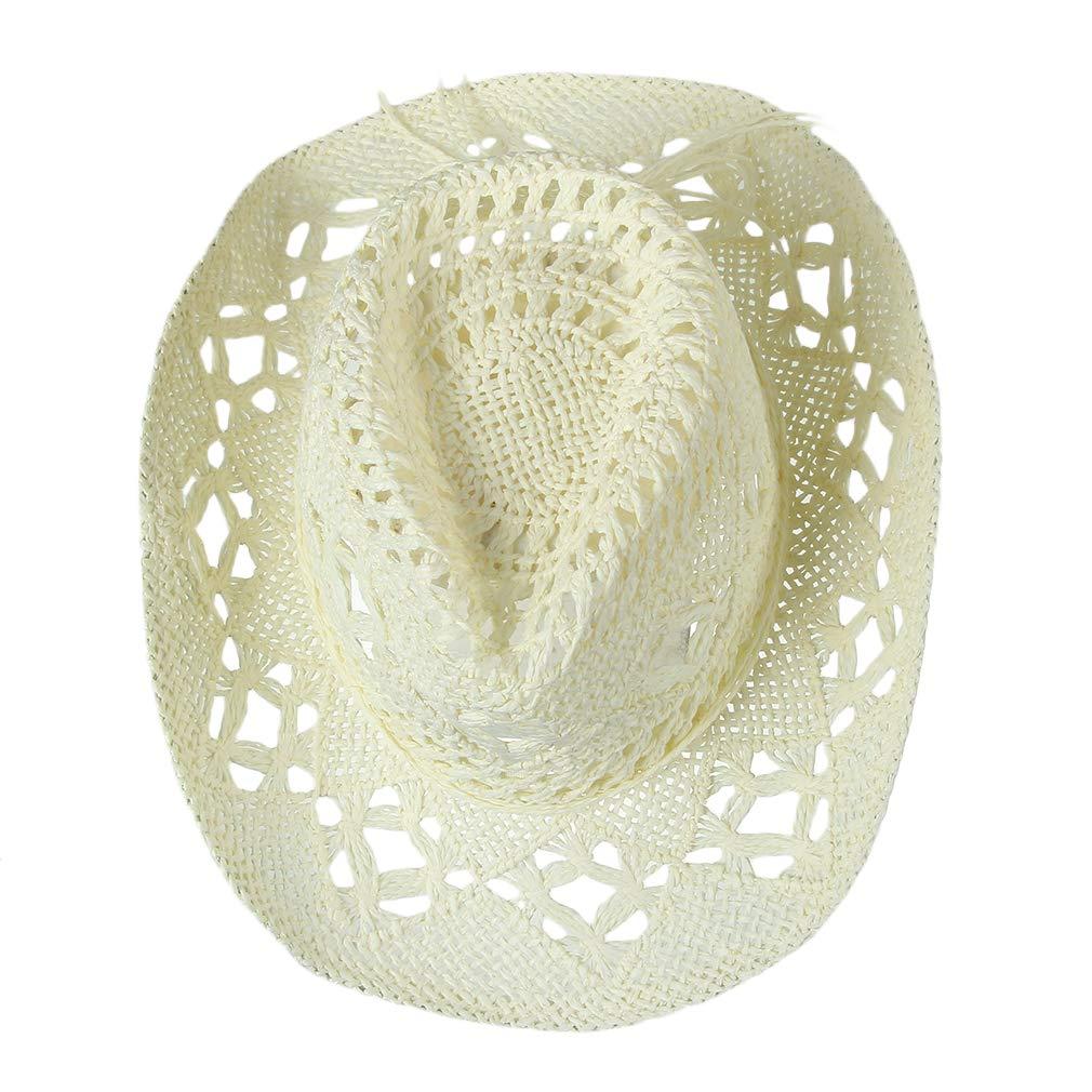 c8ca8f357a475 GEMVIE Women Straw Hat Hollow Out Cowboy Cowgirl Sun Hat Summer Beach Straw  Cowboy Hat (Beige) at Amazon Women s Clothing store