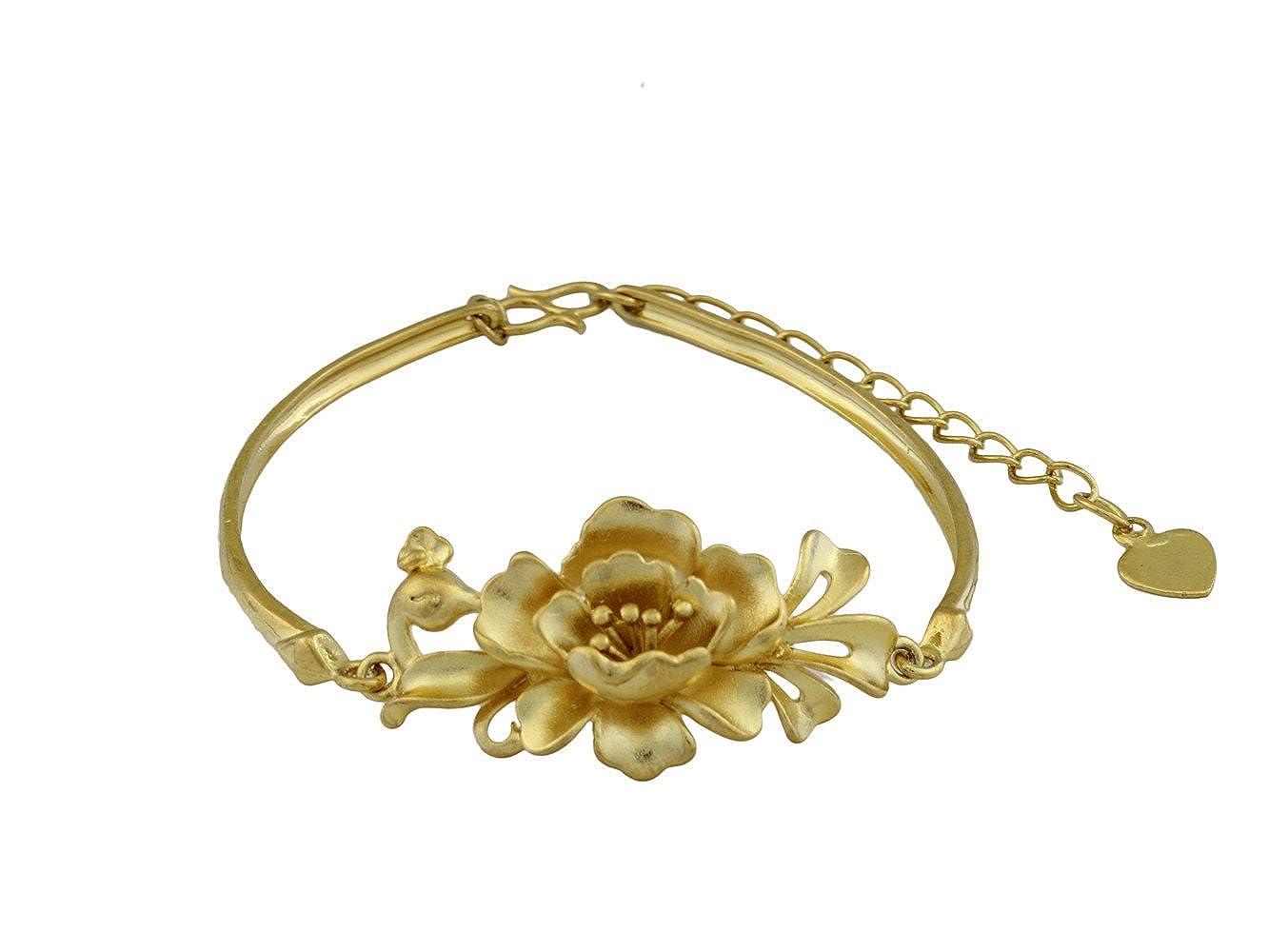 dokreil Big Flower Yelow Gold Engraved Bangle Bracelet