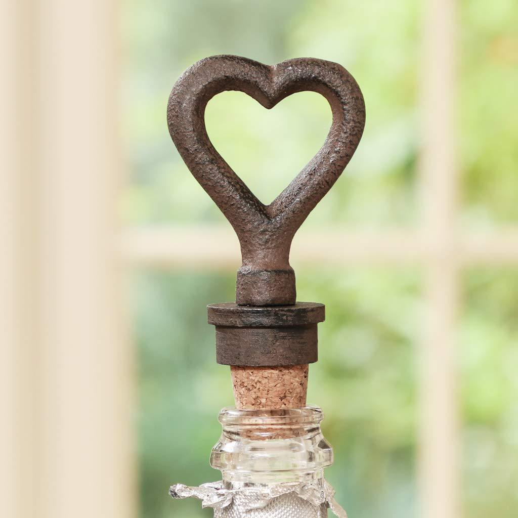 H11cm Dibor Vintage Style Cast Iron and Cork Heart Wine Bottle Stopper