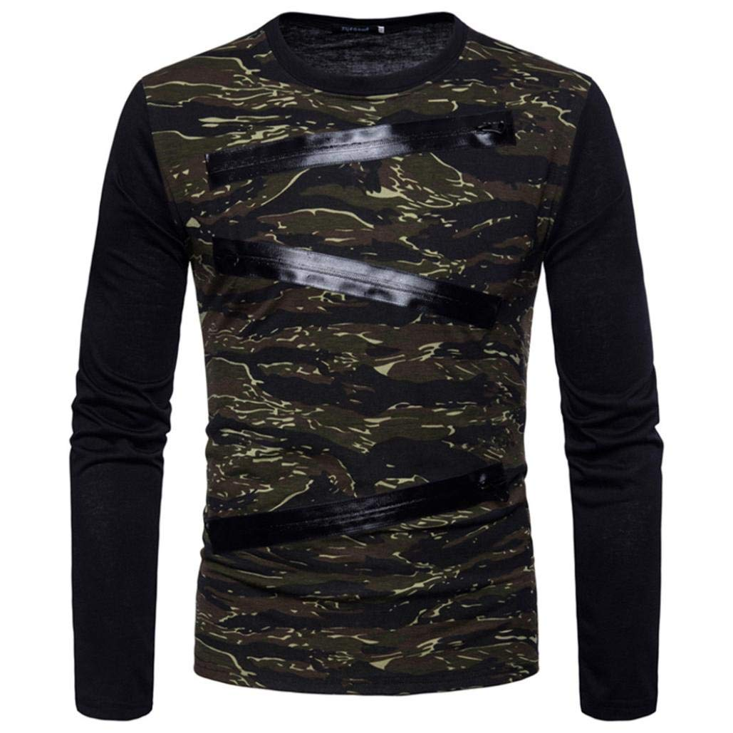 kaifongfu Mens Tops,Camouflage Long Sleeve Mens Suits Shirts Blouse Top(Army Greem,L)
