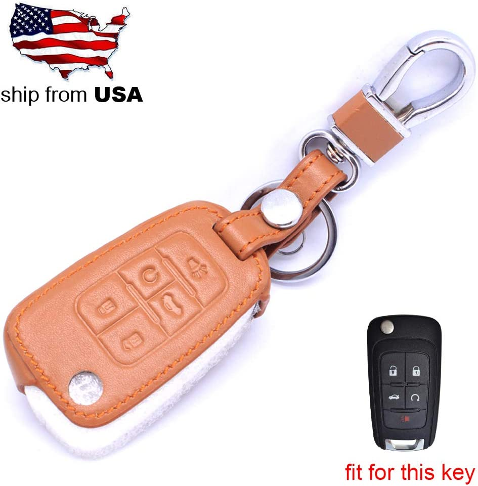 5 Button Leather Key Cover Smart Case Remote fob for Chevrolet Camaro Cruze