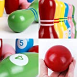 Kids Bowling Play Set Wooden Colorful Bowling