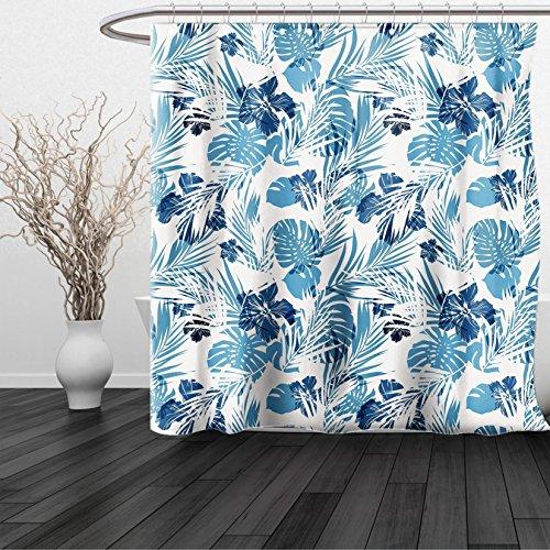 Lulu Sheer Panel (HAIXIA Shower Curtain Leaf Island Ocean Beach Sea Inspired Hawaiian Flowers Palm Tree Leaves Art Print Dark Blue and Lilac)