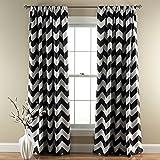 "Lush Decor Chevron Blackout Curtains Window Panel Pair   Room Darkening, Energy Efficient Drapes 84"" x 52"", Black, Set 84' x 52'"