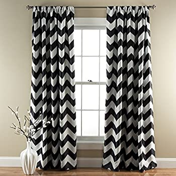Amazon.com: Lush Decor Chevron Room Darkening Window Curtain Panel ...
