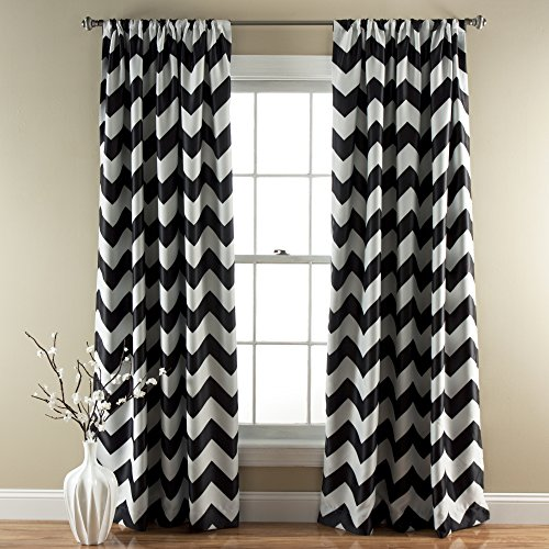 Lush Decor Chevron Blackout Window Curtain, 84 by 52-Inch, Black, Set of 2