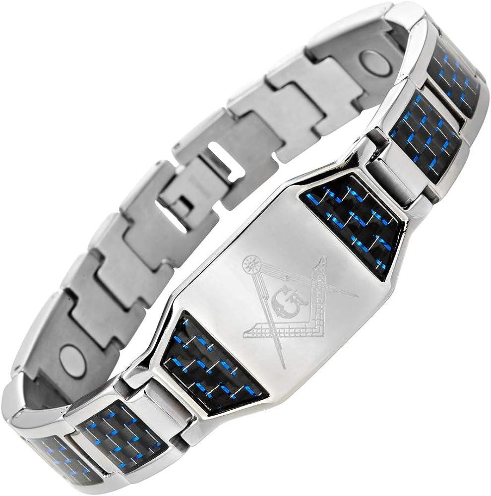 MasonicMan Men's Titanium Masonic Bracelet with Blue Carbon Fiber Insets Adjustable