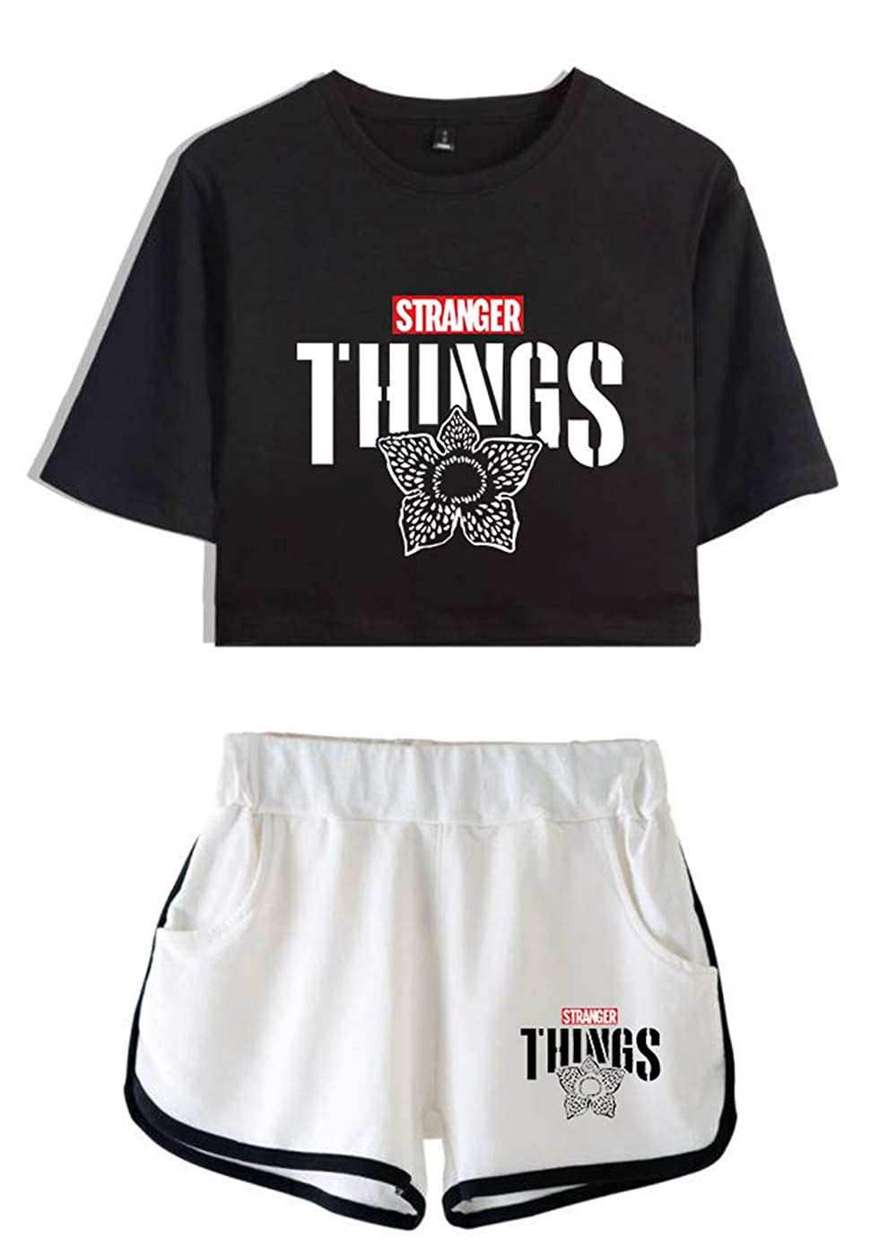 SIMYJOY Stranger Things Donna Navel T-Shirt /& Pantaloncini Cool Street Fashion Tops Serie TV Maglietta Crop Pantaloncini