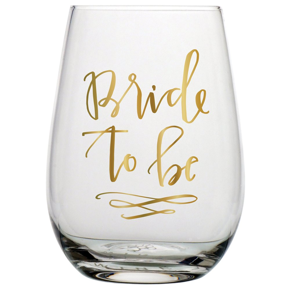 Slant 20 oz Stemless Wine Glass - Bride to be