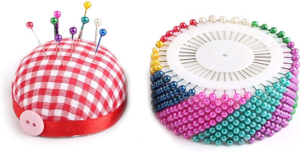 Nsiwem Spilli da Sarta 480 Pezzi Perni con Testa Cucito Pins Spilli con Testa Rotonda con 50 Sewing Clips e Puntaspilli per Cucire Rilegare Artigianato 36mm Multicolore