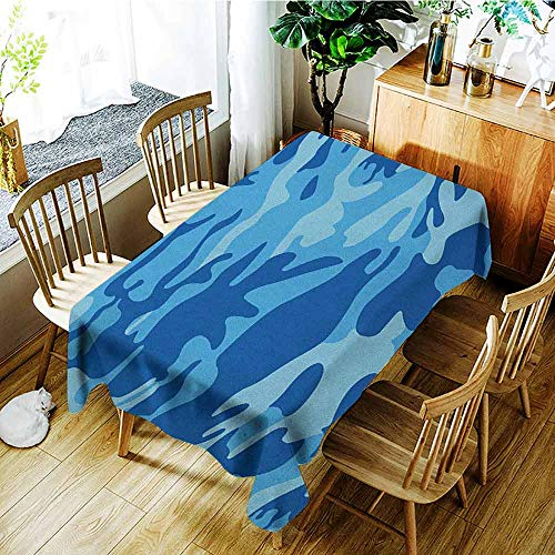 XXANS Waterproof Table Cover,Camouflage,Abstract Camouflage Costume Concealment from The Enemy Hiding Pattern,Fashions Rectangular,W52x70L Pale Blue Navy Blue
